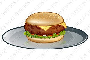 Cartoon Cheese Burger on Plate