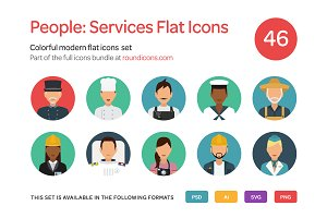 People: Service Flat Icons Set