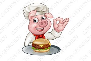 Pig Chef Holding Burger Cartoon Character