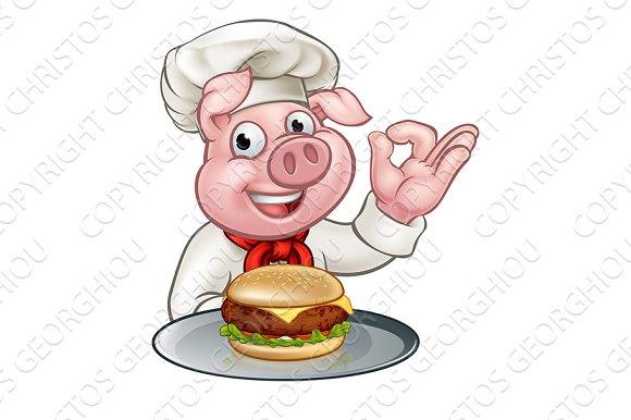 Pig Chef Holding Burger Cartoon Character