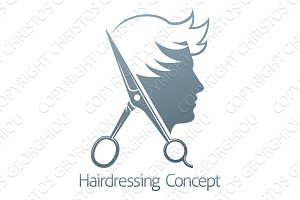Male Hairdresser Hair Salon Scissors Man Concept