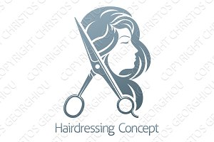 Hairdresser Hair Salon Scissors Woman Concept