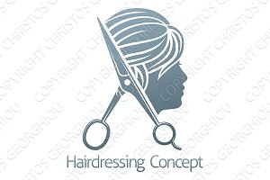 Hair Salon Hairdresser Scissors Woman Concept