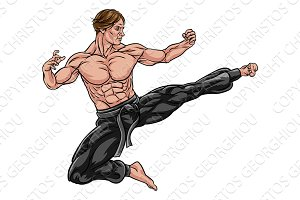 Karate Kung Fu Flying Kick Man Cartoon