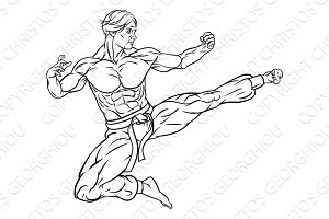 Kung Fu Karate Flying Kick Man Cartoon