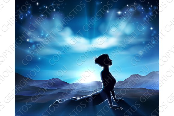 Pilates or Yoga Pose Silhouette Woman Background