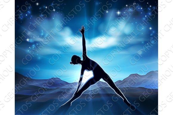 Yoga Pilates Woman Pose Silhouette Background