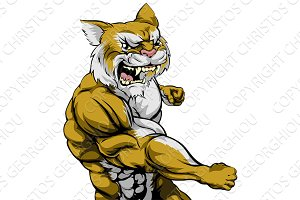 Punching wildcat mascot