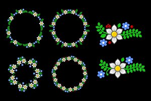Floral Circle Pattern Elements Set