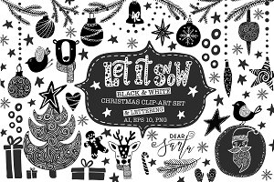 Christmas Clip-Art & Lettering Set