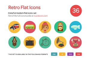 Retro Flat Icons Set