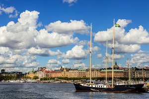 View of Stockholm with a sail-ship.