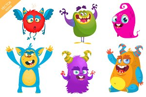 Cartoon 6 monsters. Vector set