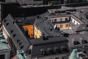 View of metal rooftops in Stockholm.