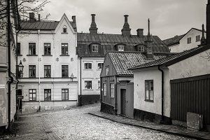 View of cobbled street in Stockholm