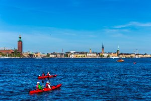 View of Stockholm with kayaks.