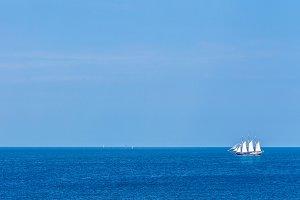 White sailing ship.