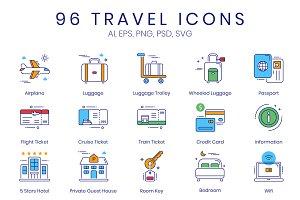 96 Tourism & Travel Icons