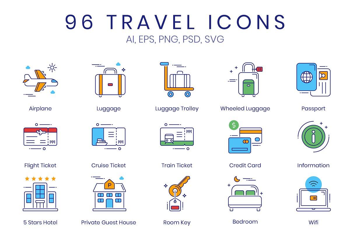e3882f814464 96 Tourism   Travel Icons ~ Icons ~ Creative Market