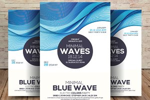 Minimal Waves Party Flyer