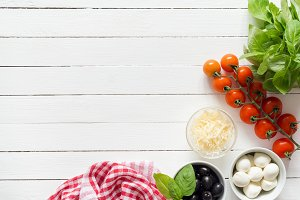 Italian food ingredients for cooking