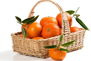 Basket with tangerines.