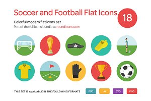 Soccer and Football Flat Icons Set