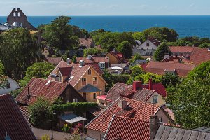 Aerial view of Visby, Gotland,Sweden