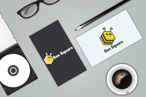 Bee Square Logo Template