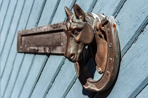 Door knocker in shape of horse.