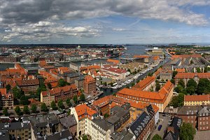 Panoramic aerial cityscape of Copenhagen city, Denmark