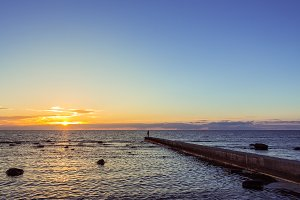 Sunset over the Baltic sea in Visby