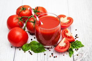 Glass with tomato juice