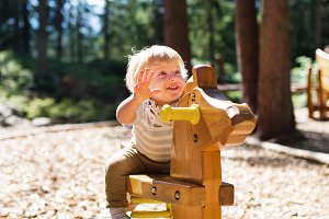 Cute little boy on the playground.