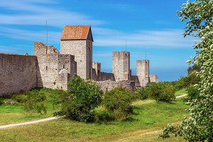 The defensive wall of Visby, Gotland