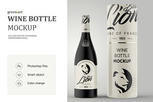 Matte Glass Wine Bottle Mockup