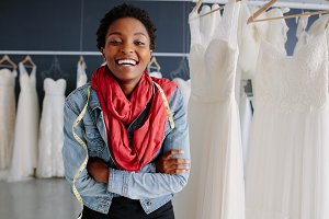 Portrait of bridal store owner