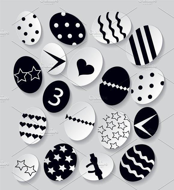 Easter eggs black and white vector