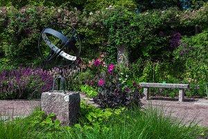 A Spherical Metal Sundial in garden