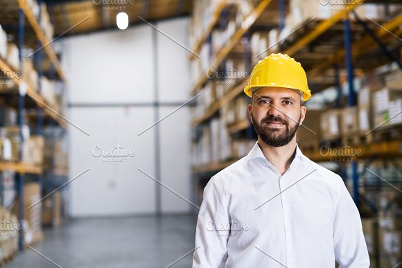 Portrait of a male warehouse worker or supervisor.