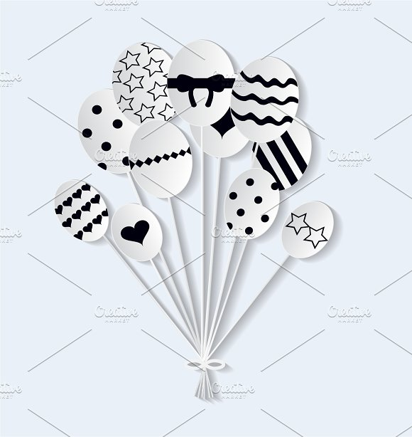 Easter Eggs Balloons Vector Png File