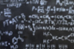 Chemical and mathematical equations wall room background defocused
