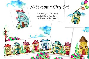 Watercolor city set