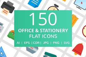 150 Office & Stationery Flat Icons