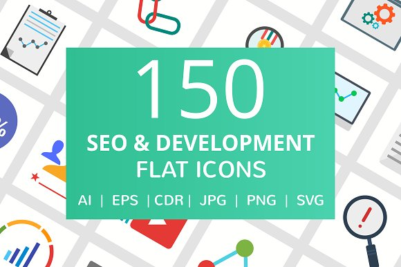 150 SEO & Development Flat Icons