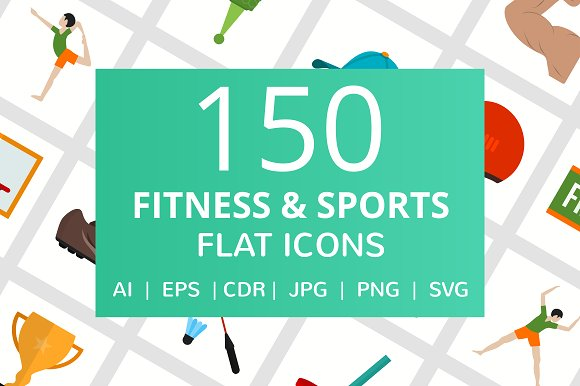 150 Fitness Sports Flat Icons