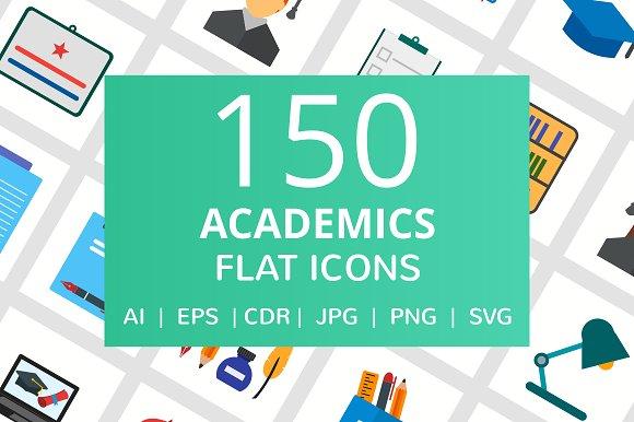 150 Academics Flat Icons
