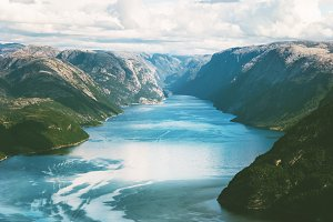 Lysefjord and Mountains Landscape