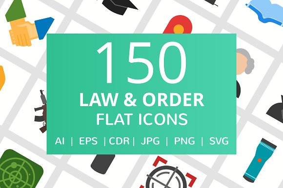 150 Law Order Flat Icons