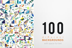 100 different backgrounds with space